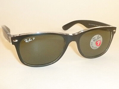 3822fd964d0 RAY BAN New WAYFARER Black On Transparent RB 2132 6052 58 Polarized Green  52mm