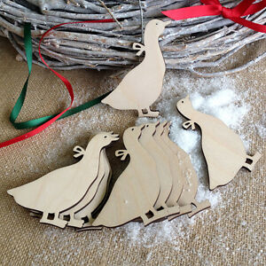 Wooden GEESE Birch Decorations Christmas or Easter Blank Craft Art Shapes x10