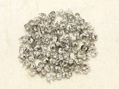 100 Cache-noeuds EMBOUTS 1m CHAINE bille 2mm 100 CONNECTEURS argenté bronze