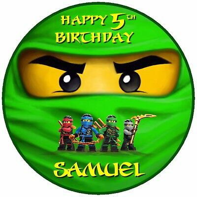 Admirable 7 5 Ninjago Birthday Edible Personalised Cake Topper Ebay Funny Birthday Cards Online Overcheapnameinfo