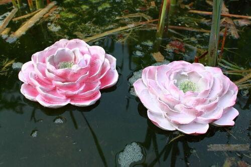 Teichdekoration 2er Set Schwimmblüte rosa