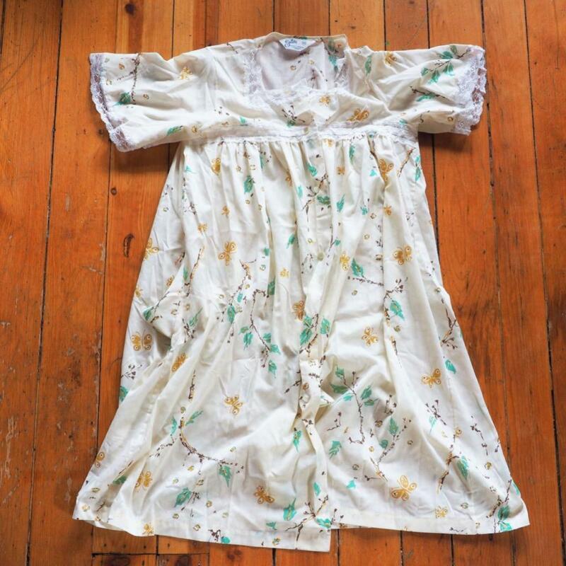 Vintage Society Unterwäsche Baumwolle Nachthemd Blumenmuster Union Usa Größe
