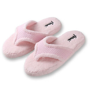 Pink Women Fuzzy Plush Thong Slippers Flip Flops House Bedroom Shoes Size 7 8 9 Ebay
