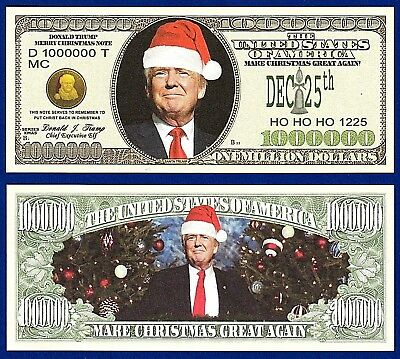 10-Donald Trump Merry Christmas Santa  Holiday Gift Dollar Bills FAKE MONEY-W3