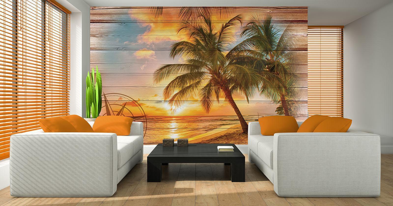 Vließ Fototapete Tapete Wandbild Strand auf dem Bretter 310027_VENMVT