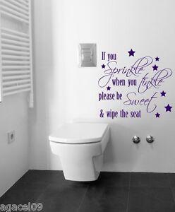 Détails Sur Saupoudrer Salle De Bain Toilette Mur Sticker Autocollant Vinyle Citation Pochoir Mural Graphique Afficher Le Titre D Origine