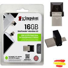 PENDRIVE KINGSTON DTDUO3/16GB 16GB USB 3.0 2.0 MEMORIA OTG 16 GB PEN DRIVE MOVIL