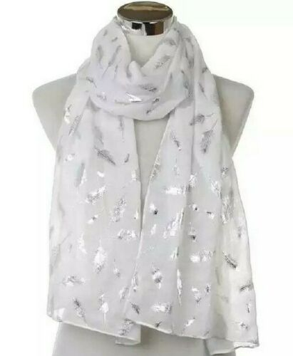 Ladies Women Glitter Silver Foil Feather Print Scarf Scarves Wraps For By London