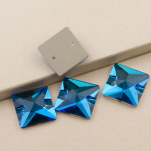655c4928f1 Blue Zircon Square Flatback Rhinestones Crystal Stone Sew on Dress ...