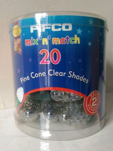 Vintage NEW 20 PIFCO Mix n Match Pine Cone Clear Christmas Tree Light Shades