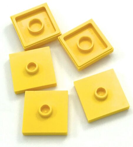 Lego 5 New Yellow Plates Modified 2 x 2 with Groove 1 Stud in Center Jumper