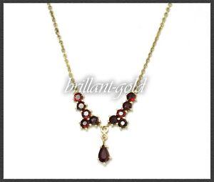 Collier-aus-333-Gold-mit-4ct-roten-Granaten-Gelbgold-Damen-Kette-Antik-um-1950