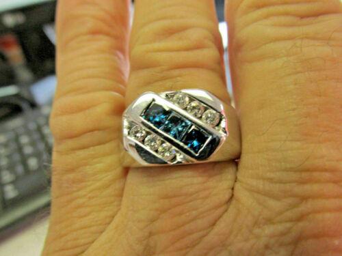 Details about  /Men/'s 2.70 Ct Princess Blue Topaz Diamond Cluster Wedding Ring 14k White Gold GP