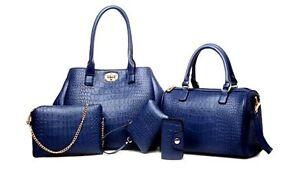 Mei-amp-Ge-Women-039-s-PU-Synthetic-Leather-Handbags-set-of-5-415-Blue