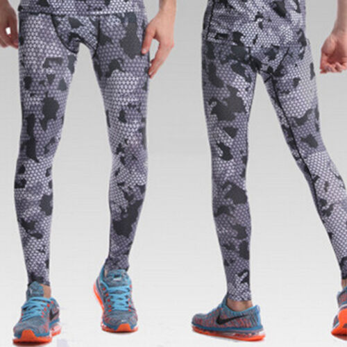 Da Uomo Athletic Camo Pantaloni a compressione in Livello Base Leggings Basket Jogger