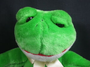 APPLAUSE GREEN WHITE FROG SITTING DOWN GOLD BOW SOFT PLUSH STUFFED ANIMAL TOY