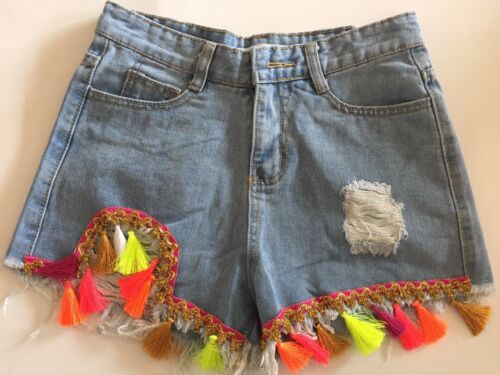 Miss Koo Femme Denim Vintage Tassled Holiday Daisy Dukes Shorts Taille L UK12 afficher le titre d'origine