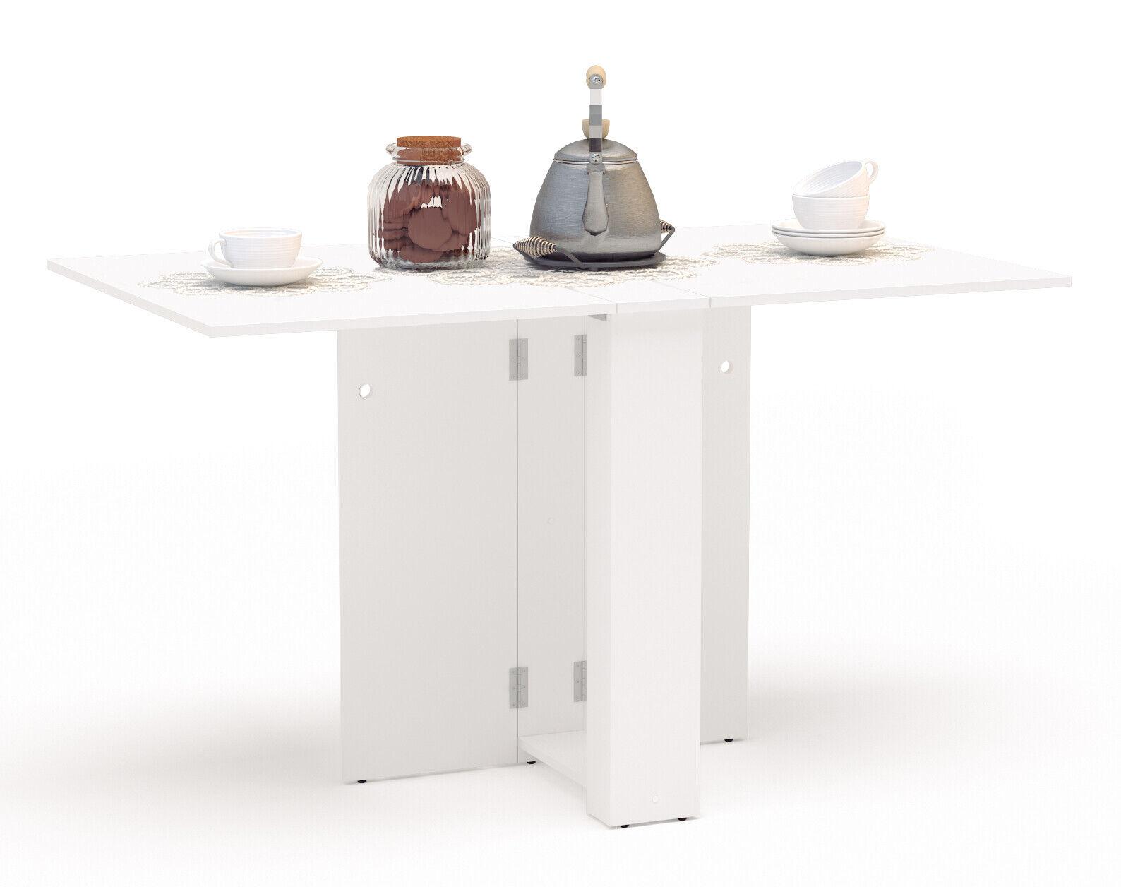 Mesa cocina Swing abatible plegable color blanca moderna mueble 18-132x75x80 cm