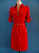 MICHAEL KORS   RED / GOLD  3/4  ROLL UP SLEEVE SHIRT  DRESS with BELT size  L