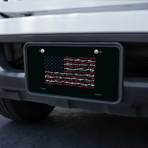 American Gun Flag USA Second 2nd Amendment Metal Vanity Tag License Plate