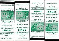 4 Streichholzbriefchen Gasthof-Pension Linde, Bad Häring, Tirol   30/10/14