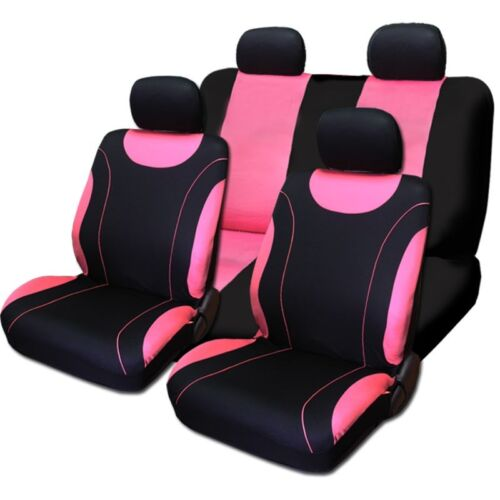 For Honda New Front /& Rear Black /& Pink Polyester Seat Covers Pink Paws Set