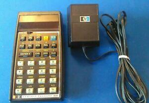 Vintage-Hewlett-Packard-HP-32E-Scientific-Calculator-and-Power-Adapter