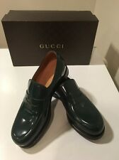 New Gucci Shade Lux  Verde Patent Leather Penny Loafer Shoes UK Sz 7 /US 8 🇮🇹