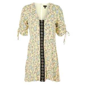 Ex-Topshop-Yellow-Ditsy-Floral-Summer-Tea-Mini-Dress-Size-6-8-10-12-14-16-18