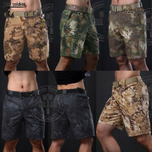 Mens-Army-Combat-Shorts-Tactical-Cargo-Pants-Casual-Military-Hiking-Camouflage