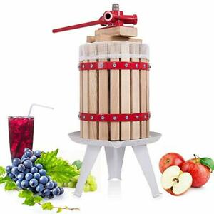 1-6-Gallon-Fruit-Wine-Press-Cider-Apple-Grape-Crusher-Juice-Maker-Tool-Wood-New