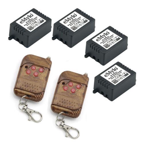AC220V 1000W 4X1 Channel RF Relay Remote Control Switch Peach-Wood 2 Transmitter