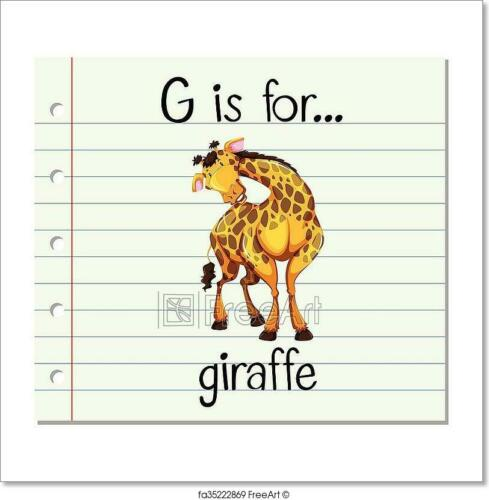 D Flashcard Letter G Is For Giraffe Art Print Home Decor Wall Art Poster