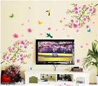 Removable Peach Blossom Flower Tree Branch Bird Butterfly Wall Sticker Art Decal