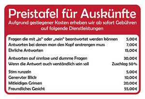 Preistafel-fuer-Auskuenfte-Blechschild-Schild-gewoelbt-Metal-Tin-Sign-20-x-30-cm