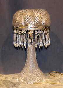 ANTIQUE-CUT-GLASS-ELECTRIC-LAMP