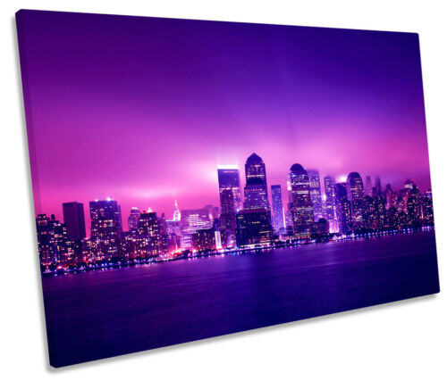 New York City Skyline Night SINGLE CANVAS WALL ART Print Picture
