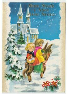 Card-Merry-Christmas-Vintage-Snow-Donkey-Children-Basket-Gifts-Chiesa-Greeting