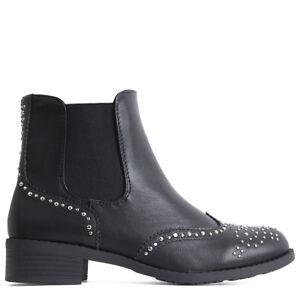 Womens Ladies Ankle Boots Chelsea Low Heel Studded Detail Vintage ... fd11efbd7