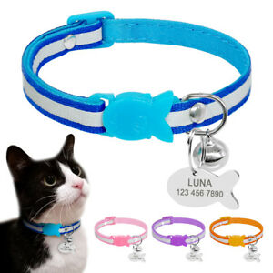 Nylon-Reflective-Dog-Cat-Breakaway-Collar-Engraved-ID-Tag-Quick-Release-for-Pet