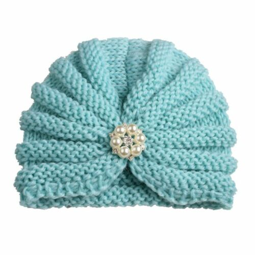 Baby Girl Winter Hat Knitted Cap Comfy Trendy Solid Acrylic Head Wear Beanie New