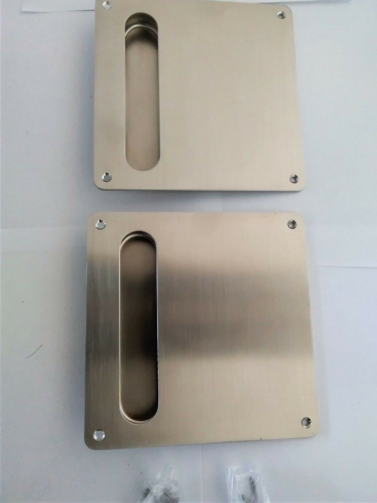 2 x FLUSH INSET PULL HANDLE RECESSED ON SQUARE PLATE 170 x 170 mm - FREE POSTAGE