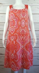 28076e1018 Womens Dakini Paisley Dress Large L Orange Pink White Criss Cross ...