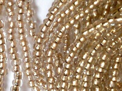 Vtg 1 HANK GOLD LINED CLEAR SEED BEADS ROUND HOLE 12//0   #031210b