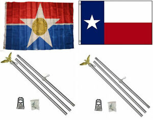 Details about 3x5 City of Dallas & State of Texas Flag & 2 Aluminum Pole  Kit Sets 3'x5'