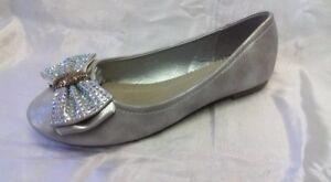 grandi affari sulla moda liquidazione a caldo arte squisita Dettagli su Ballerine Argento Scarpe Donna 39 Fiocco Strass Brillantini  Woman Shoes Schuhe