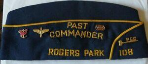 Vintage-American-Legion-Cap-Past-Commander-108-Rogers-Park-Chicago-w-11-Pins