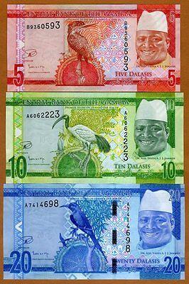 UNC P-31 32 33 34 35 36 Gambia Set 6 PCS 5+10+20+50+100+200 Dalasis 2015