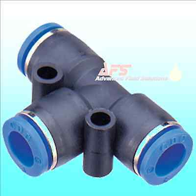 Pneumatic TEE Push In Nylon Tube Connector One Touch T Speed Fit Air Fitting UK
