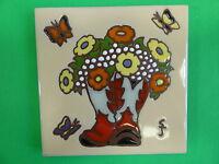 Ceramic Art Tile 6x6 Western Vase Cowboy Boots Flowers Ranch Rustic Trivet H15